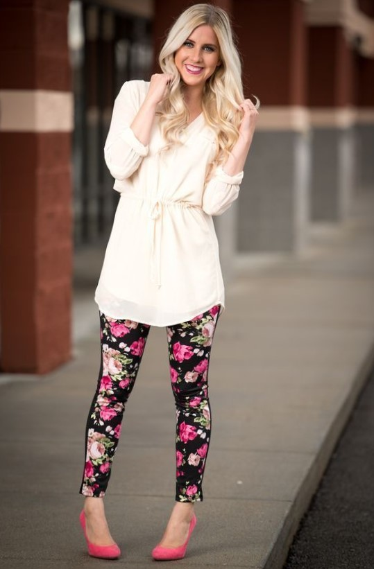 Latest 80s Fashion Floral Leggings Outfit 2021s For Girls