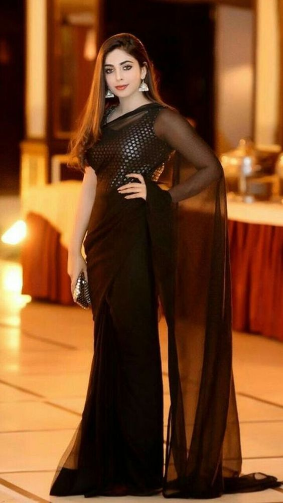 Greatfull & Stylish Indian Black Saree With Cheap Price 2021