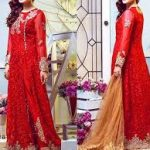 Excllent Red Chiffon Suit Collection 2020 with Jamawar Trouser